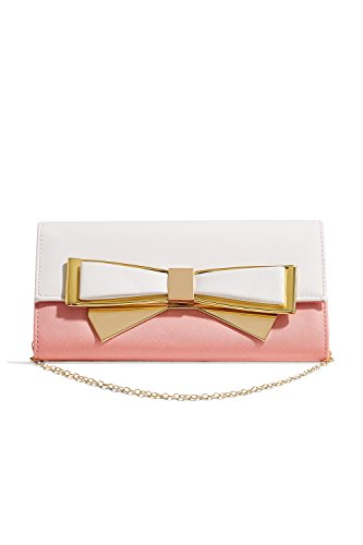 Women Bow Clutch Purse Flap Front Crossbody Faux Leather Handbag With Chain Strap (peach, white, (Womens Bow Clutch)