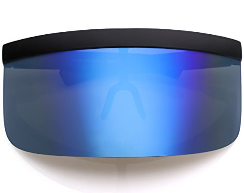 Oversized Futuristic Shield Flat Top Mirrored Mono Lens Visor Sunglasses (Mirror - Visor Futuristic