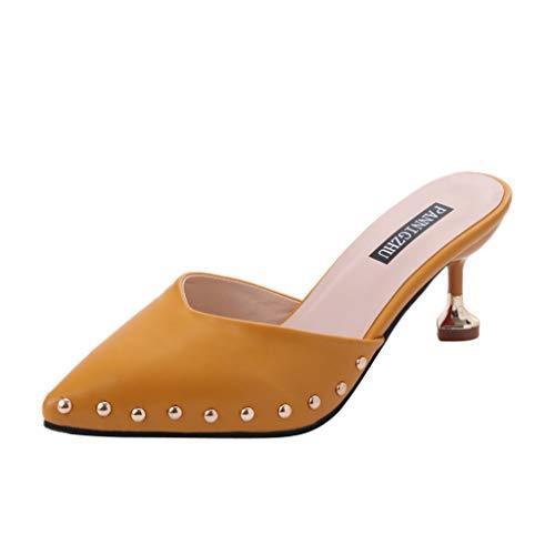 Sunhusing Womens Pointed Stiletto Heel Sandals Slippers Baotou Rivets Decor Sandals Wear Casual Versatile Shoes -