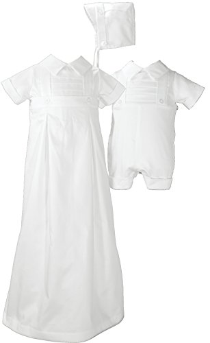 Boys 100% Cotton Convertible Christening Baptism Set with Hat, 12 Month
