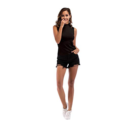 Toimothcn Womens Sleeveless Stretchy Tops Blouse Shirt Solid High Collar Vest Crop Tops (Black,)