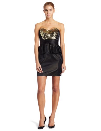 ABS By Allen Schwartz Womens Strapless Sequin Bodice Peplum Dress, Black/Gold, (Abs Strapless Party Dress)