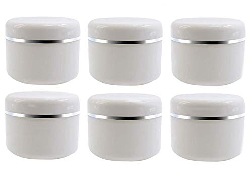 ericotry 20ml 0.67oz White Silver Edge Empty Refillable Cosmetic Plastic Jars with Dome Lid Make Up Face Cream Lip Balm Lotion Storage Container Travel Case Bottle Pot Pack of 6 (20ml/0.67oz)