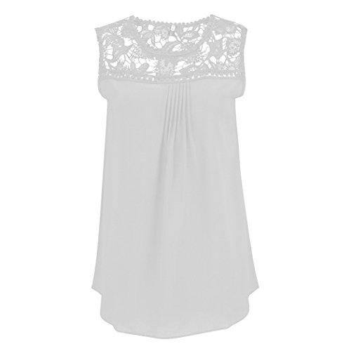 Bianca Maniche Colletto Shirt Camicetta Chiffon in Tops Bluse T Tondo Elegante e Senza Affascinante e Pizzo 4n1Cxfq