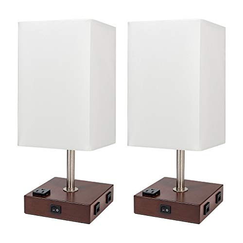 DEEPLITE Table Lamp Bedside Nightstand Lamp with Dual USB Ports and Outlet, Modern Desk Lamp with Brown Wooden Base Fabric Shade, Ambient Light for Bedroom, Gust Room, Office, Set of 2 (Square)