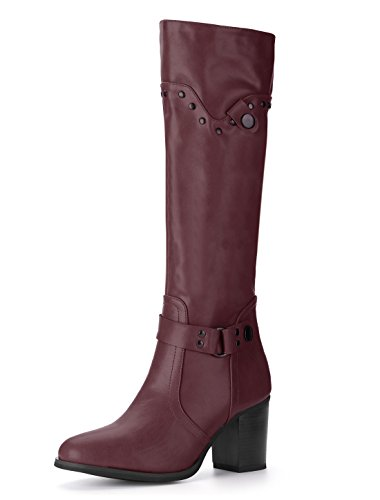Allegra K Women's Studded Strap Chunky Heel Riding Boots (Size US 6) (Strap Riding Boots)