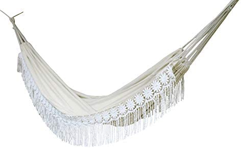 Handmade Large Brazilian Natural Ecru Cotton Hand Woven Hammock with White Crochet Fringe, Deluxe Style Beautiful White Lace Wedding Hammock Festive Brazil with Tree Ropes and Carry Bag