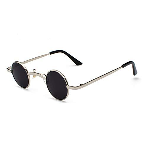 Small Round Steampunk Sunglasses Men Women Metal Frame Vintage Sun Glasses UV400 CC1029 C3 Silver ()