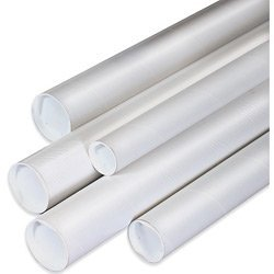 Aviditi P2524W Spiral Wound Fiberboard Mailing Tube with Cap, 3 Ply, 24' Length x 2-1/2' Width, 0.070' Thick, White (Case of 34)