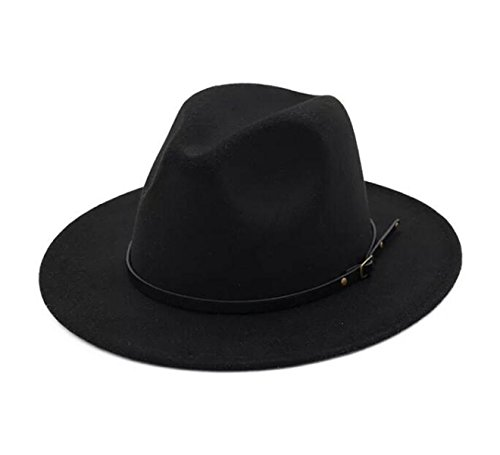 - Lanzom Womens Classic Wide Brim Floppy Panama Hat Belt Buckle Wool Fedora Hat (One Size, Black)