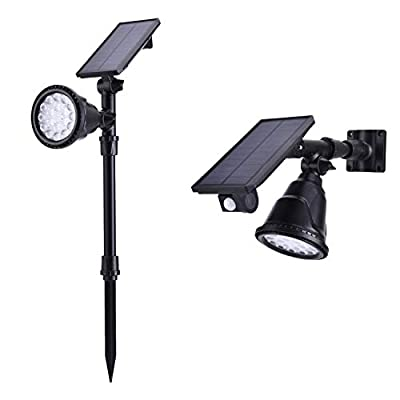 AILATAN 4 Modes Waterproof Adjustable 18 LED Outdoor Solar Pathway Lights Landscape Lighting Spotlight Montion Sensor Security Wall Light Auto On/Off for Yard Garden Driveway Pathway Pool, 2 Pack