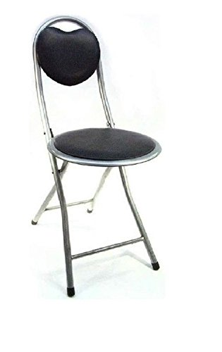 Black Folding Padded Breakfast Stool with Back-Rest Kitchen Chair AnZ