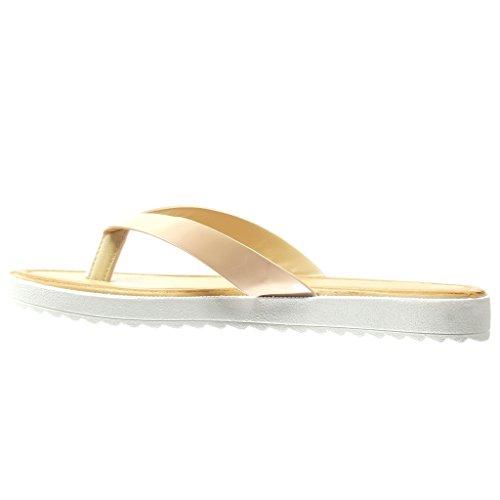 Angkorly - Chaussure Mode Sandale Tong salomés femme brillant Talon plat 2 CM - Rose