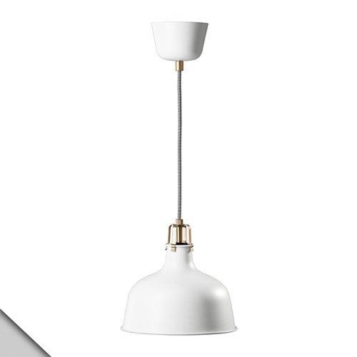 IKEA - RANARP Pendant lamp Metal 9' Diameter, Steel Joints and 5' 3' Striped Textile Cord + E26 LED Bulb (White)