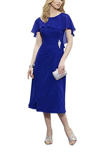 LoveMyth Women's Short Chiffon Pleated Scoop Mother of the Bride Evening Dress