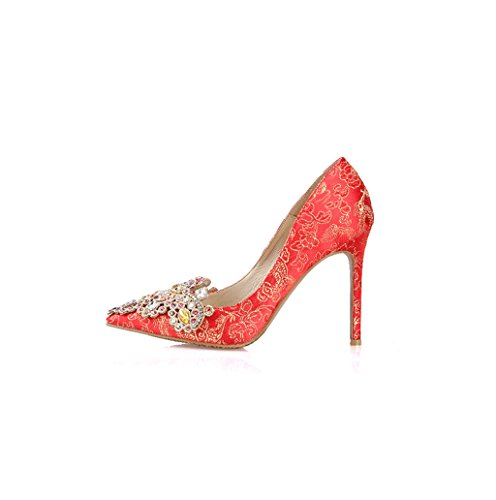 Elegant Feminine Shoes Wedding Pointed Shoes Silk Toe Embroidered Bare Red Shallow Heel Shoes Feet Red Fashion Mouth Sandals 7cm Dream Material Sexy High 5SqxdZqn