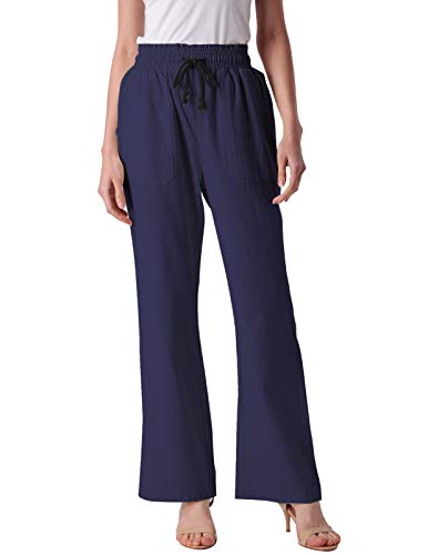 (ANGGREK Women's Solid Plus Size Wide-Leg Super Soft Palazzo Pants Navy Blue 2XL)