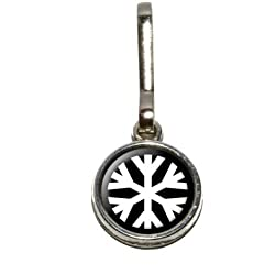 Graphics and More Snowflake - Low Temperature Symbol - White on Black Antiqued Charm Clothes Purse Luggage Backpack Zipper Pull