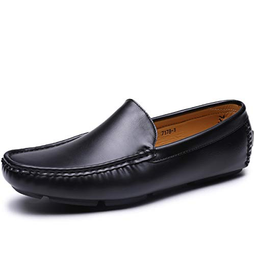 Men's Casual Loafer Slip-on Driving Shoes (9,Black-28)