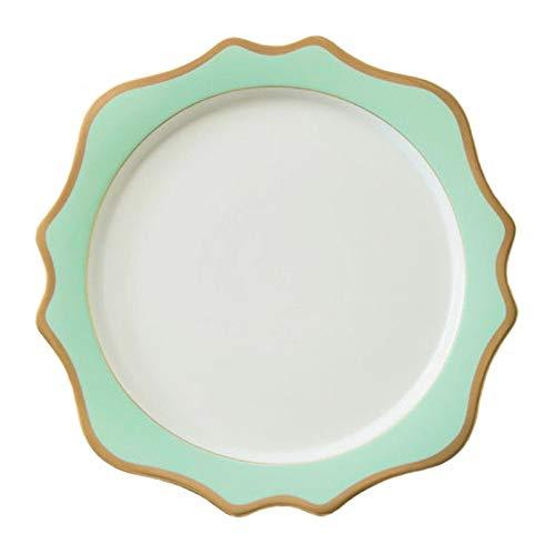 Zhicaikeji Assiette en porcelaine Set haute qualité vert or Rim Sun Flower assiette en céramique de mariage fête danniversaire Western plaque alimentaire ménage plaque 4 Pack Cuisine & Maison Ameublement et décoration