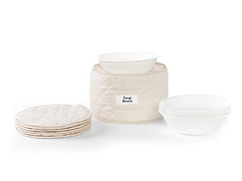 Covermates - Round Soup Bowls Storage 10 DIAMETER x 7H - Diamond Collection - 2 YR Warranty - Year Around Protection - Cream