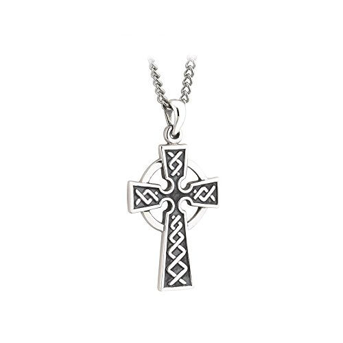 Failte Celtic Cross Necklace for Men Oxidized Sterling Silver 2 Sided Made in Ireland (Celtics Cross Necklaces)