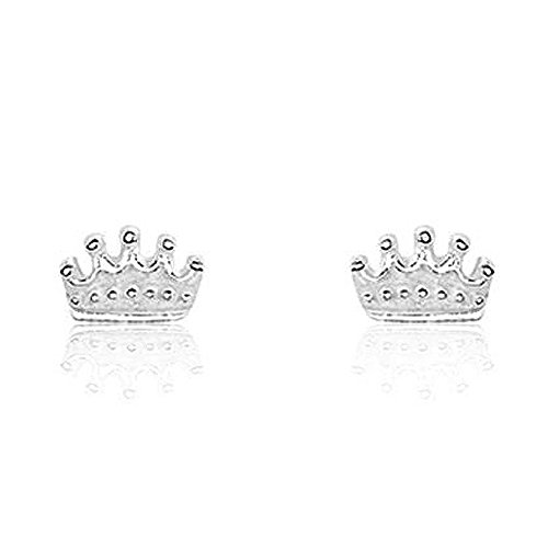 925 Sterling Silver Tiny Crown Earrings - Minimalistic Design - Gift Box Included