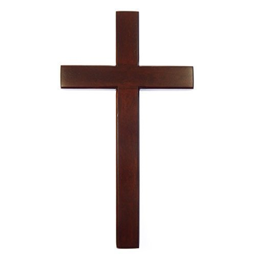 50cm wooden Mahogany very large wall hanging cross brown wood smooth bevelled Shalom