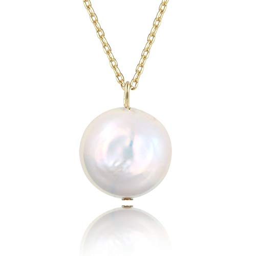 COZLANE 14K Gold Natural Freshwater Single Pearl Coin Simple Pendant Necklace for Women Girls