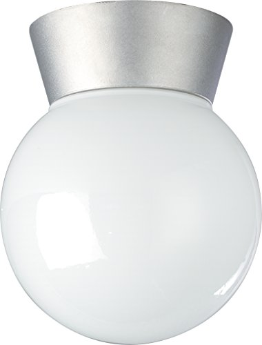 Nuvo Lighting SF77/152 Utility Fixture Die Cast Aluminum Durable Outdoor Close to Ceiling Porch and Patio Light with White Glass Globe Satin Aluminum