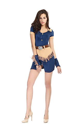[Bulacker Female Individual Cowboy Suit Role Play Costume Set,Blue,One size] (Cute Easy Group Costumes Ideas)
