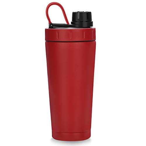Homiguar Insulated Water Bottle, Double Wall Protein Shaker Bottle, Stainless Steel Shaker Cup, Screw-top, Leak Proof, 20-Ounce, BPA Free - Red