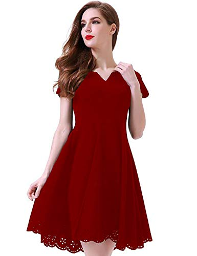 Aphratti Women's Cute Henley V Neck Short Sleeve Hollow Out Casual Skater Dress Large Red