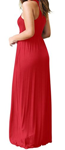 Dress Solid Sleeveless Neck Womens Swing Round 3 Pockets Cromoncent Maxi with n40TgqfxIx