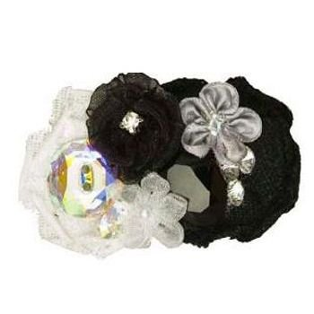 Tarina Tarantino - Fashion Couture - Iconic Collection - Swarovski Crystal Linen & Organza Flower Collage Hairclip - Black #HC03S7-1 ()