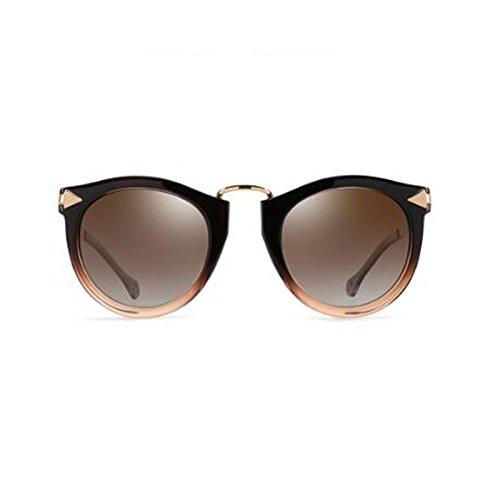 redonda Color moda tendencia caja Retro de gafas viaje brown decoración de cara sol de Marrón Color viaje UV WLHW de femenino Gafas frame polarizada sol nWw7Bqp0Pv