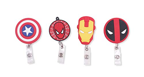 Finex Marvel Set of 4 Retractable Badge Holder ID Badge Reel Clip On Card Holders - Captain America Shield Siperman Deadpool Ironman