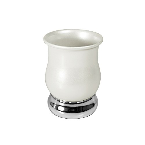 InterDesign Jacqueline Tumbler Cup for Bathroom Vanity Countertops - Pearl White/Chrome