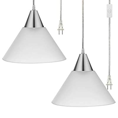 DEWENWILS Plug in Hanging Light, Interior Pendant Ceiling Light, Frosted White Shade, 15ft Clear Cord On Off Switch