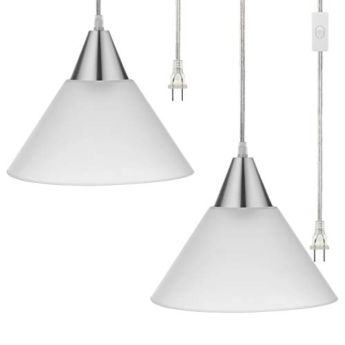 DEWENWILS Plug in Hanging Light, Interior Pendant Ceiling Light for Living Room, Bedroom, Dinning Hall, Frosted White Shade, 15ft Clear Cord On Off Switch,Pack of 2