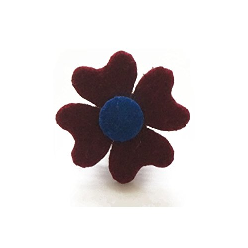 Sunny Home Vintage Men's Handmade Boutonniere Lapel Flower Pin for Suit (Wine Red)