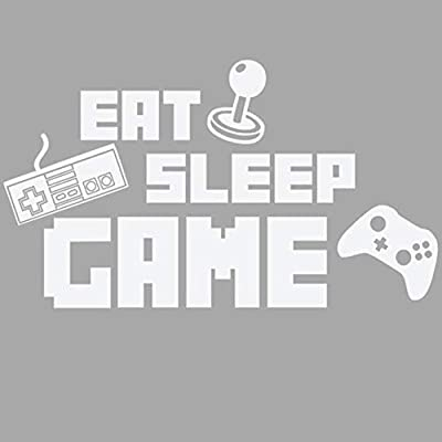 BIBITIME DIY English Sayings Quotes EAT Sleep Game Wall Decal Keyboard Handle Silhouette Sticker for Boys Bedroom Kids Room Decor Internet Bar Art Mural (White, DIY 15.74