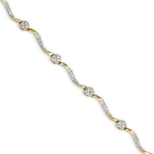 14k Yellow Gold Diamond Bracelet 7inch (0.25ct, (0.25 Ct Diamond Bracelet)