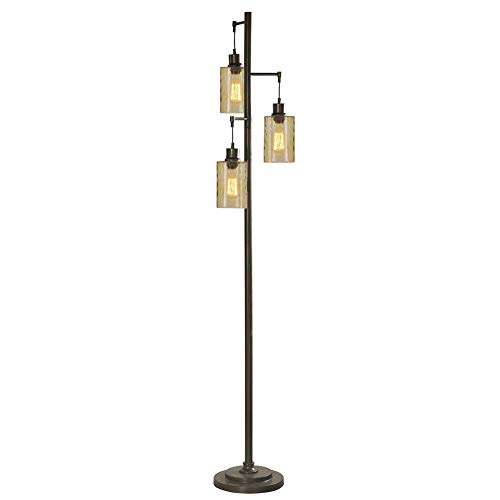 StyleCraft 72-Inch 3 Glass Shade Bronze Champagne Pendant Dimple Floor Lamp