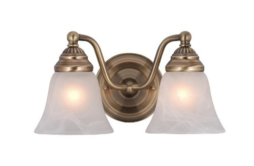(Vaxcel VL35122A Standford 2 Light Vanity Light, Antique Brass Finish)