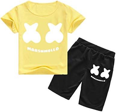 マシュメロ T-셔츠 상하 세트 아동 DJ 음악 반 남자 여자 여행 셔츠 반바지 소년 소녀 내의 학생 편안한 아기 옷 멋 할로윈 이벤트 / Mashmelo T-shirt Up and Down Set Kids DJ Music Short Sleeve Boy Girl Travel Shirt Shorts Boys Girls Girls`...