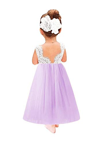 Toddler Baby Flower Girls Dress Princess Tulle Party Dresses Lace Backless Tutu A-line Beaded Skirt Purple