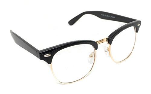 WebDeals - Vintage Classic Half Frame Horn Rimmed Browline Design Sunglasses (Black, Gold / - Frames Glasses 70s