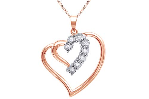 - Jewel Zone US Natural Diamond Journey Heart Pendant Necklace in 925 Sterling Silver (1/20 Ct)