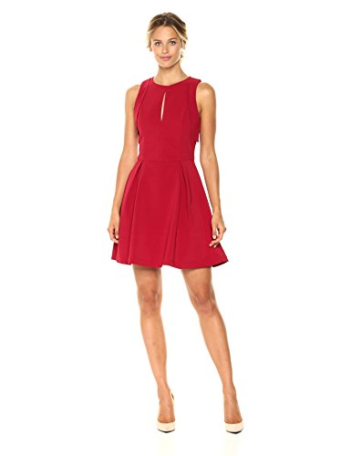 Adelyn Rae Women's Samantha Woven Fit and Flare with Armhole Ruffles, Deep Red, S by Adelyn Rae